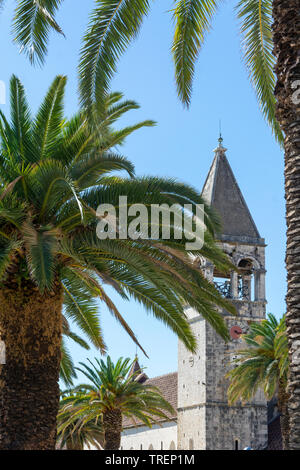 Old town in Trogir. Tower with leaves of palm trees. Croatia - Stock Photo