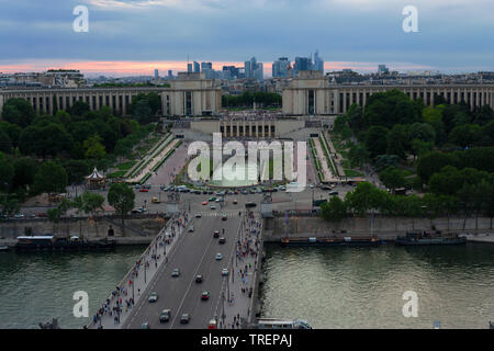 Looking towards Palais de Chaillot from the Eiffel Tower, Paris, France - Stock Photo
