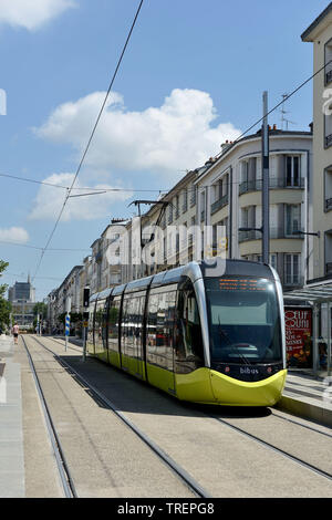 Brest (Brittany, north-western France): tram in the area of the Golden Triangle, in the lower section of ' rue de Siam ' street - Stock Photo