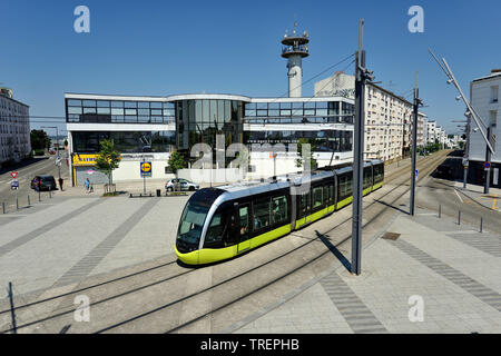Brest (central-western France): buildings and tram in ' place de Strasbourg ' square, in the city centre - Stock Photo