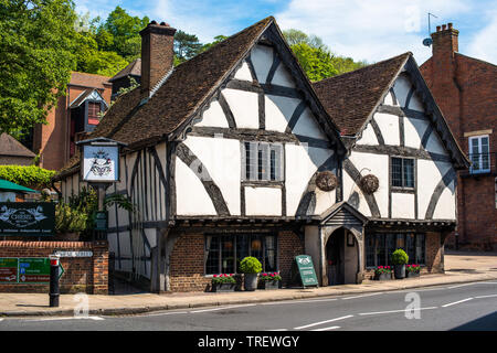 The Old Cheil Rectory built in 1450 is a medieval half timbered building now housing a restaurant in Winchester, Hampshire, England, UK. - Stock Photo