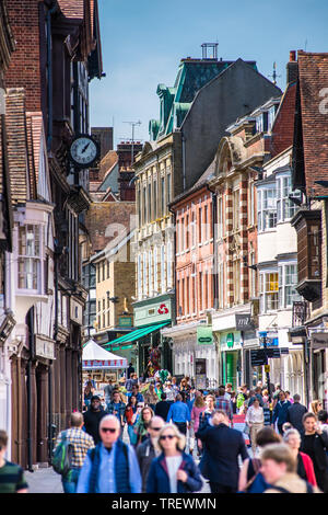 Winchester High St. in the city centre crowded with shoppers. Hampshire. England. UK. - Stock Photo