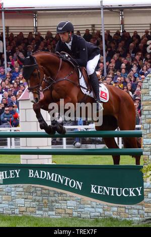 Tim Price - Ringwood Sky Boy -  Show Jumping Badminton Horse Trials 2019 - Stock Photo