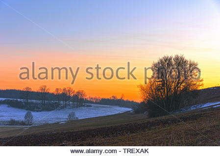 Beautiful winter and autumn scene. Blue sky sunset, everything calm and quiet. No people just nature with fields and trees. - Stock Photo