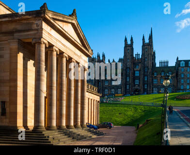 National Gallery of Scotland and The Mound, Edinburgh - Stock Photo