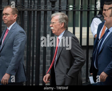 10 Downing Street, London, UK. 4th June 2019. On day 2 of the State Visit of the President and First Lady of the USA, US National Security Advisor John Bolton (centre) arrives in Downing Street for talks. Credit: Malcolm Park/Alamy Live News. - Stock Photo