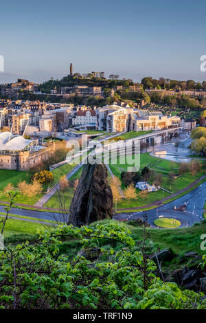 Scottish Parialment building from Holyrood Park - Stock Photo