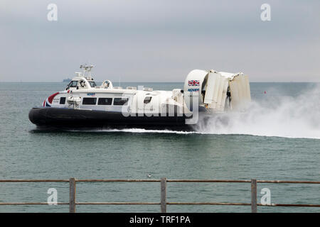 Hovercraft / Hover Craft 'The Solent Flyer' seen at Ryde on Isle of Wight / IofW / IoW. Service operates between Ryde & Southsea in Portsmouth UK (99) - Stock Photo