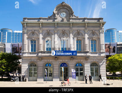 Station europe the information centre infopoint for the European parliament buildings Place du Luxembourg Espace Léopold Brussels Belgium Eu Europe - Stock Photo