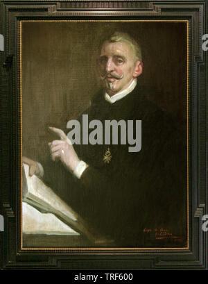 Retrato de Lope de Vega -  Óleo del retratista español de Alejandro Cabeza - Real Academia de la Lengua. - Stock Photo