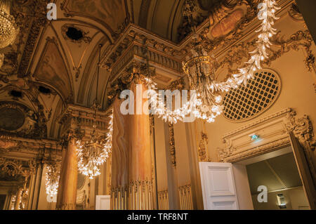 Luxurious lounge decoration at the Quai d'Orsay Museum in Paris. One of the most impressive world's cultural center in France. - Stock Photo