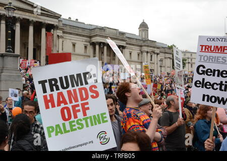 Protest in Central London on the second day of the visit by the President of the United States Donald Trump, Tuesday 3rd June 2019. - Stock Photo