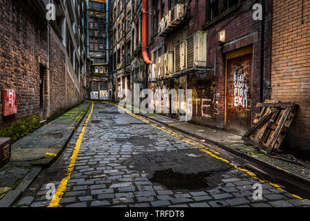 Union Street lanes, one of the many service lanes in Glasgow city centre and short walk from the main shopping streets - Stock Photo