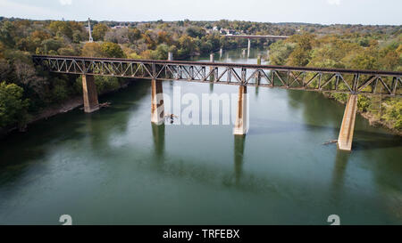 Daytime Aerial Landscape Photograph Image Rusty Old Vintage Steel Railroad Train Track Trestle Crossing Historic Potomac River in Maryland, USA - Stock Photo