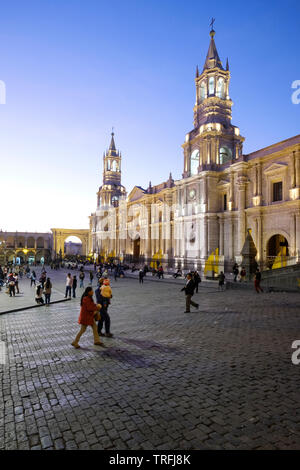 Magnificent Cathedral illuminated on the Plaza de Armas or Main Square of Arequipa, Peru - Stock Photo