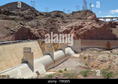 An Overflow at the Hoover Dam linking Nevada and Arizona creating the largest water reservoir in the USA - Stock Photo
