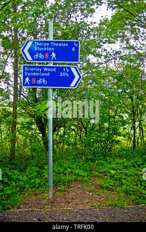 Signposts at Wynyard Woodland Park, Thorpe Thewles ex Railway Station, North East England - Stock Photo