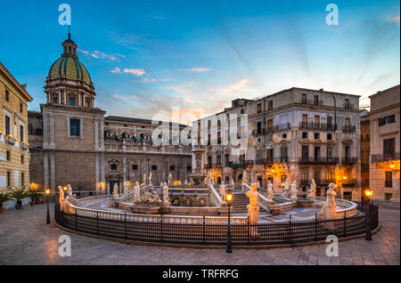 Piazza Pretoria and the Praetorian Fountain in Palermo, Sicily, Italy. - Stock Photo