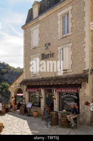 Rocamadour, France - September 3, 2018: Pilgrimage town of Rocamadour, Episcopal city and sanctuary of the Blessed Virgin Mary, Lot, Midi-Pyrenees, Fr - Stock Photo