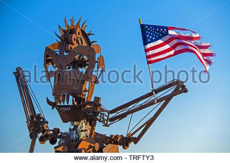 United States, South Dakota, Sturgis, the Full Throttle Saloon is the world largest biker's bar - Stock Photo