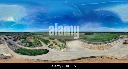 Spherical 360 degree spherical panorama of a sand quarry in the north of Germany - Stock Photo