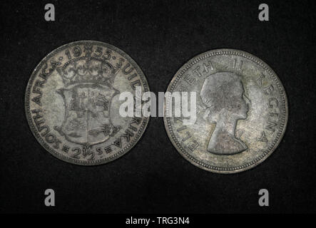 South Africa 1955 2 1/2 Shillings Uncirculated - Stock Photo