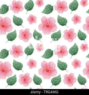 abstract seamless watercolor hand drawn pattern of hibiscus flowers and leaves - Stock Photo