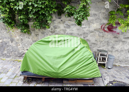 Homeless tent in Montmartre - Paris - France - Stock Photo
