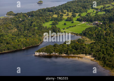 Landscape Ireland. Aerial view of Muckross House estate and Dundag point as seen from Torc Mountain in Killarney National Park, County Kerry, Ireland - Stock Photo