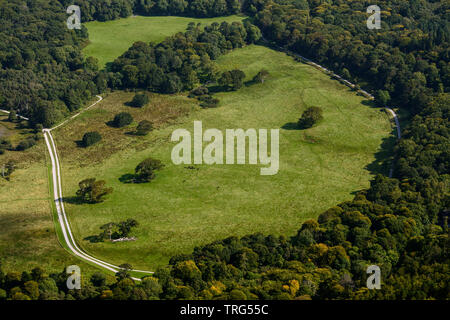 Aerial view of round shaped meadow surrounded by trees from above as seen from Torc Mountain summit in Killarney National Park, County Kerry, Ireland - Stock Photo