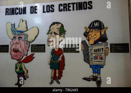 Havana, Cuba - 30th January 2018: Caricature as part of the exhibition in the Museum of the Revolution showing the former US American presidents in 't - Stock Photo
