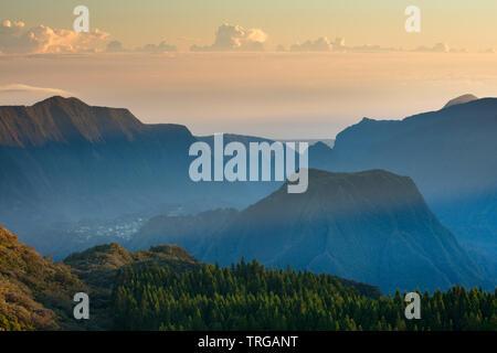 The Cirque de Salazie at dawn from the Col de Boeuf, Réunion Island, France - Stock Photo
