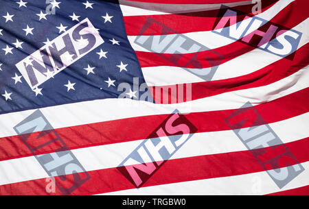 NHS (National Health Service) logo on stars and stripes flag. USA/United States of America UK trade deal/Brexit concept image. - Stock Photo