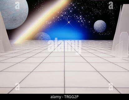 Space age background planets and stars - Stock Photo