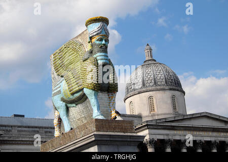 Fourth Plinth Trafalgar Square  'The Invisible Enemy...' sculpture outside the National Gallery in spring 2019  London England UK  KATHY DEWITT - Stock Photo