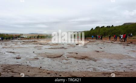 The Strokkur Geyser in Iceland - Stock Photo