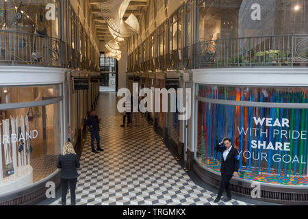 The entrance of Quadrant Arcade on Regent Street, on 30th May 2019, in London, England. - Stock Photo