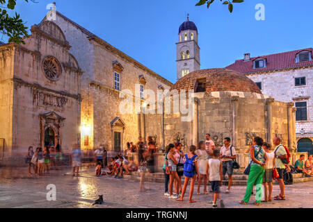 Dubrovnik, Croatia - July 19, 2015: Night scene in the old town of Dubrovnik, Croatia, featuring the Big Fountain of Onofrio, one of the old town land - Stock Photo