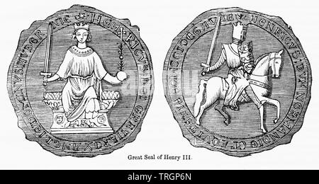 Great Seal of Henry III, Illustration from John Cassell's Illustrated History of England, Vol. I from the earliest period to the reign of Edward the Fourth, Cassell, Petter and Galpin, 1857 - Stock Photo