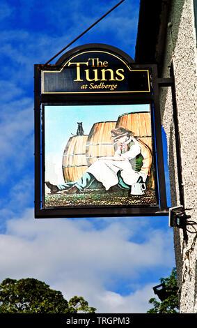 The Tuns Pub Sign, Sadberge, Borough of Darlington, England - Stock Photo