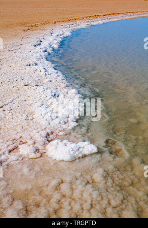 Endorheic salt lake with shallow pool of salty water and an S-shaped edge of crystalized salt. Chott el Djerid, Tunisia. - Stock Photo