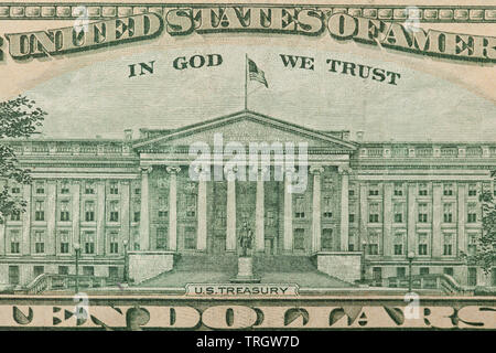 Closeup of a 10 dollar bill with focus on the US Treasury on the back - Stock Photo