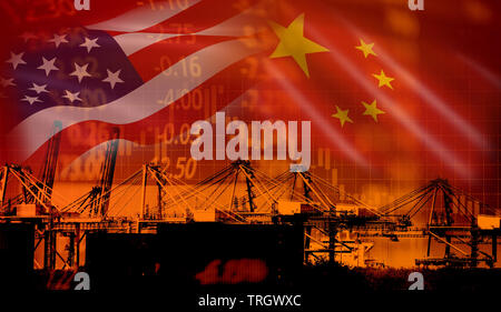 USA and China trade war economy conflict tax business finance money / United States raised taxes on imports of goods from China on industry container