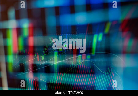 Business graph chart of stock market investment trading on digital display background - Stock Photo