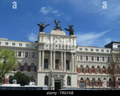 beautiful government palace facade the Ministry of Agriculture building close to the Atocha railway station - Stock Photo