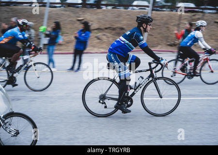 San Francisco, USA. 2nd June, 2019. Cyclists leaving the Cow Palace at the start of the AIDS/Lifecycle, the 7 day 545-mile bike ride from SF to LA - Stock Photo