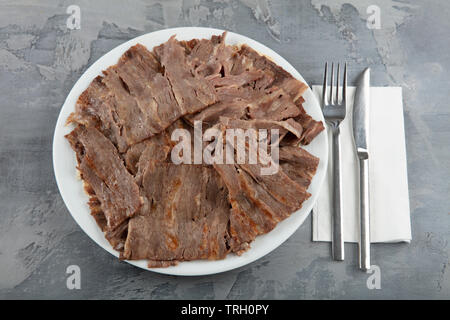 Turkish Doner Kebab on plate. Arabic traditional doner with pita bread / lavash. Protein nutrition, clean eating, diet concept. Turkish, greek or midd - Stock Photo
