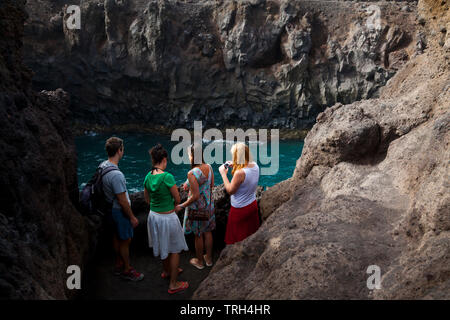 Paisaje volcánico Los Hervideros. Isla  Lanzarote. Provincia Las Palmas. Islas Canarias. España - Stock Photo
