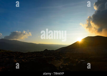 Sunset over erupting Mt Yasur Volcano, Tanna Island, Vanuatu - Stock Photo