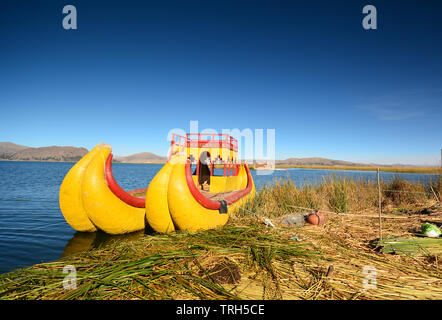 View of Reed boat on Island of Uros. Lake Titicaca,  Peru - Stock Photo
